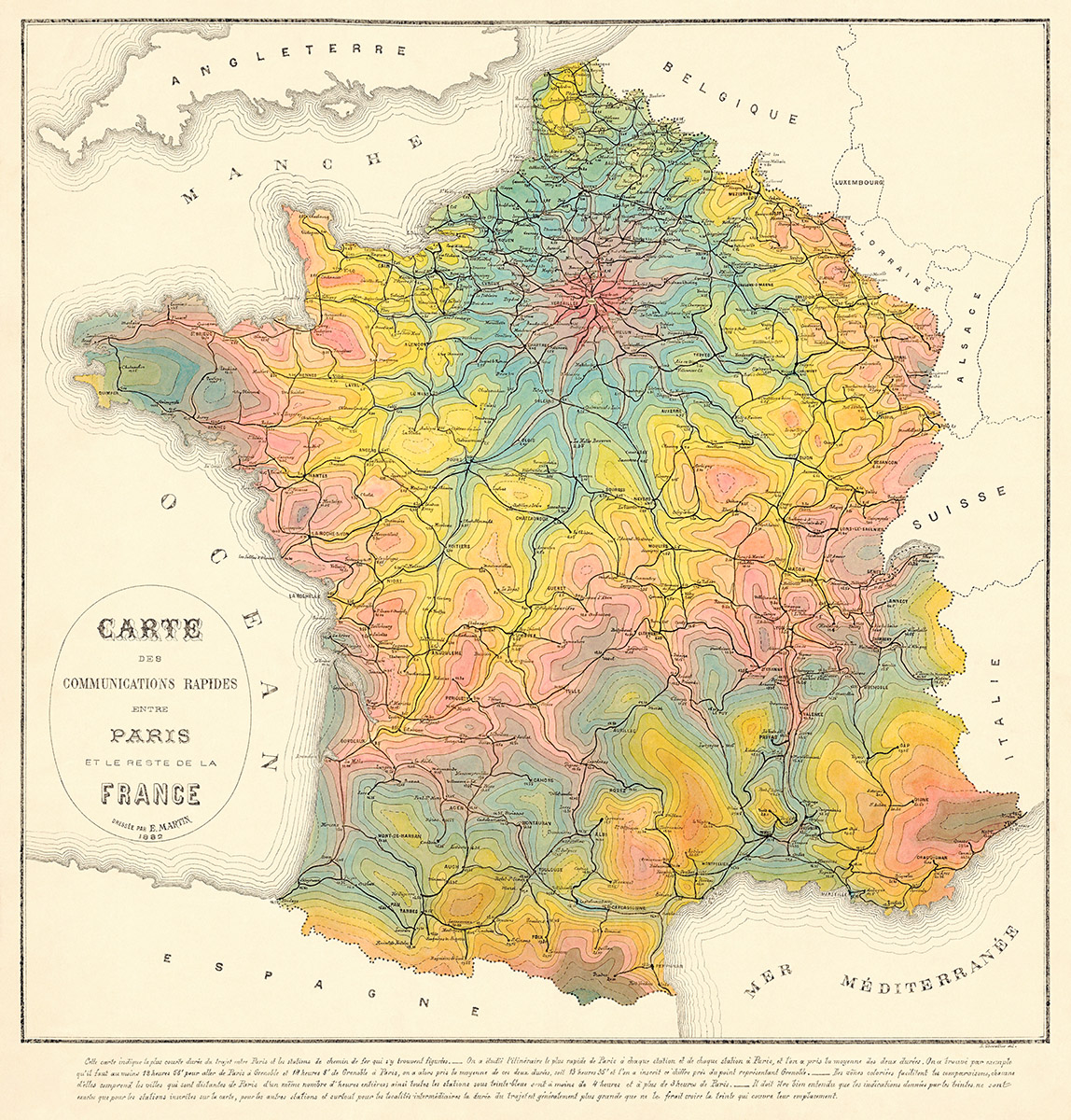 Map Of France Rail System.1882 Map Of Travel Time By Rail In France Transit Maps Store