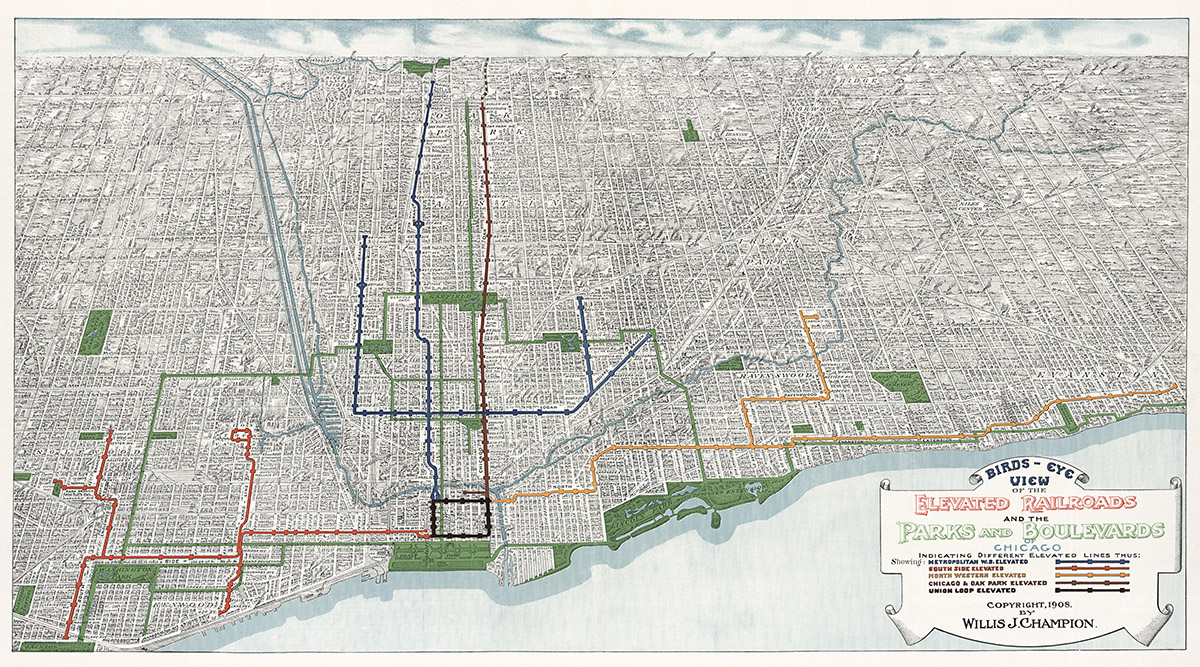 1950s Mbta Elevated Subway Map.1908 Elevated Railroads Of Chicago