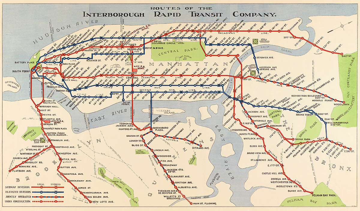 Irt Nyc Subway Map.1924 Routes Of The Irt New York