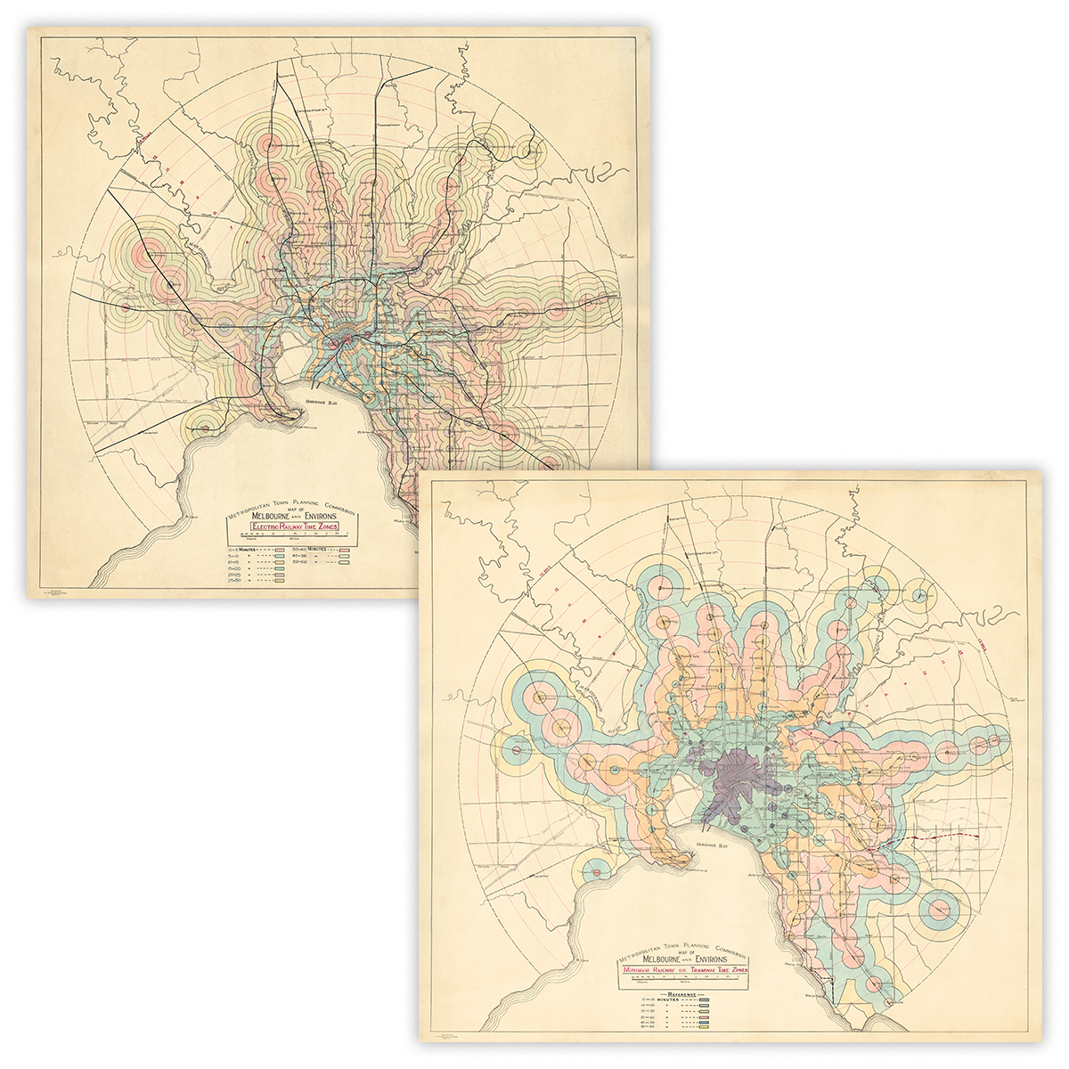 Path Train And Subway Map Combo.1926 Melbourne Isochrone Maps Combo