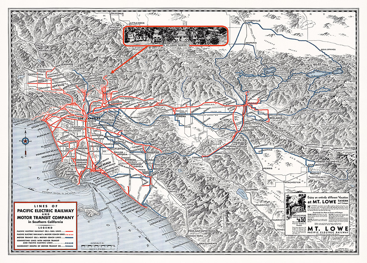 Subway Map Before 1933.1933 Map Of The Pacific Electric Railway