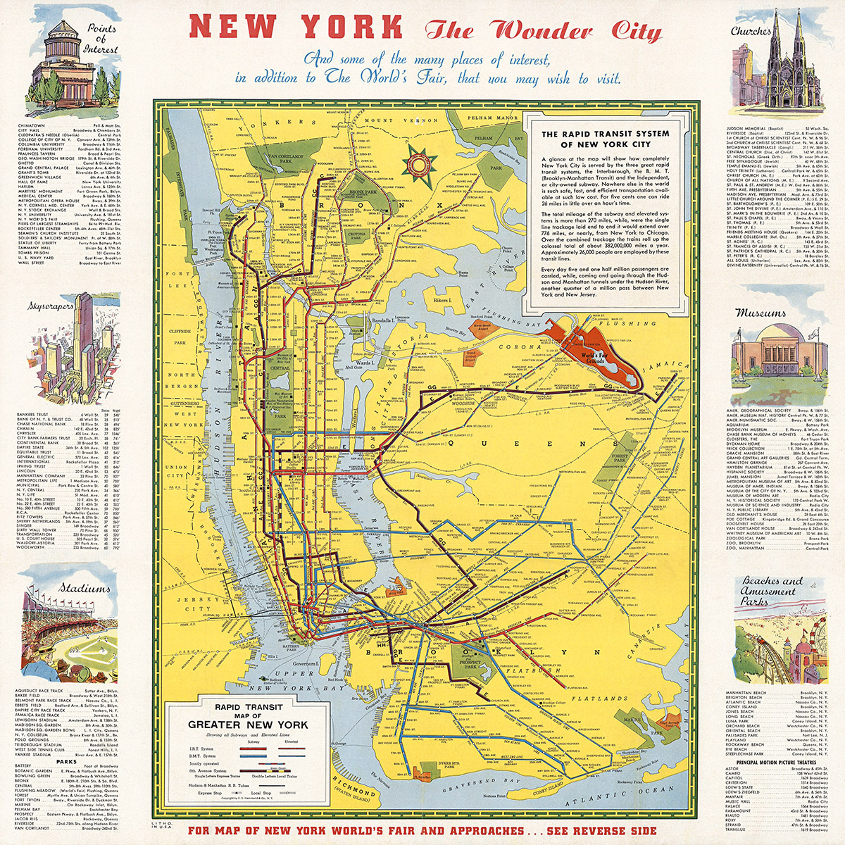 Greater New York Subway Map.1939 Rapid Transit Of Greater New York