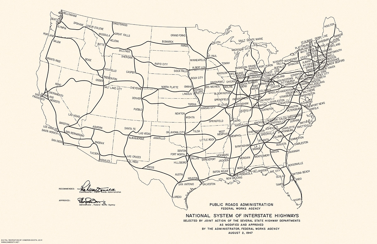 1947 National System Of Interstate Highways Transit Maps Store