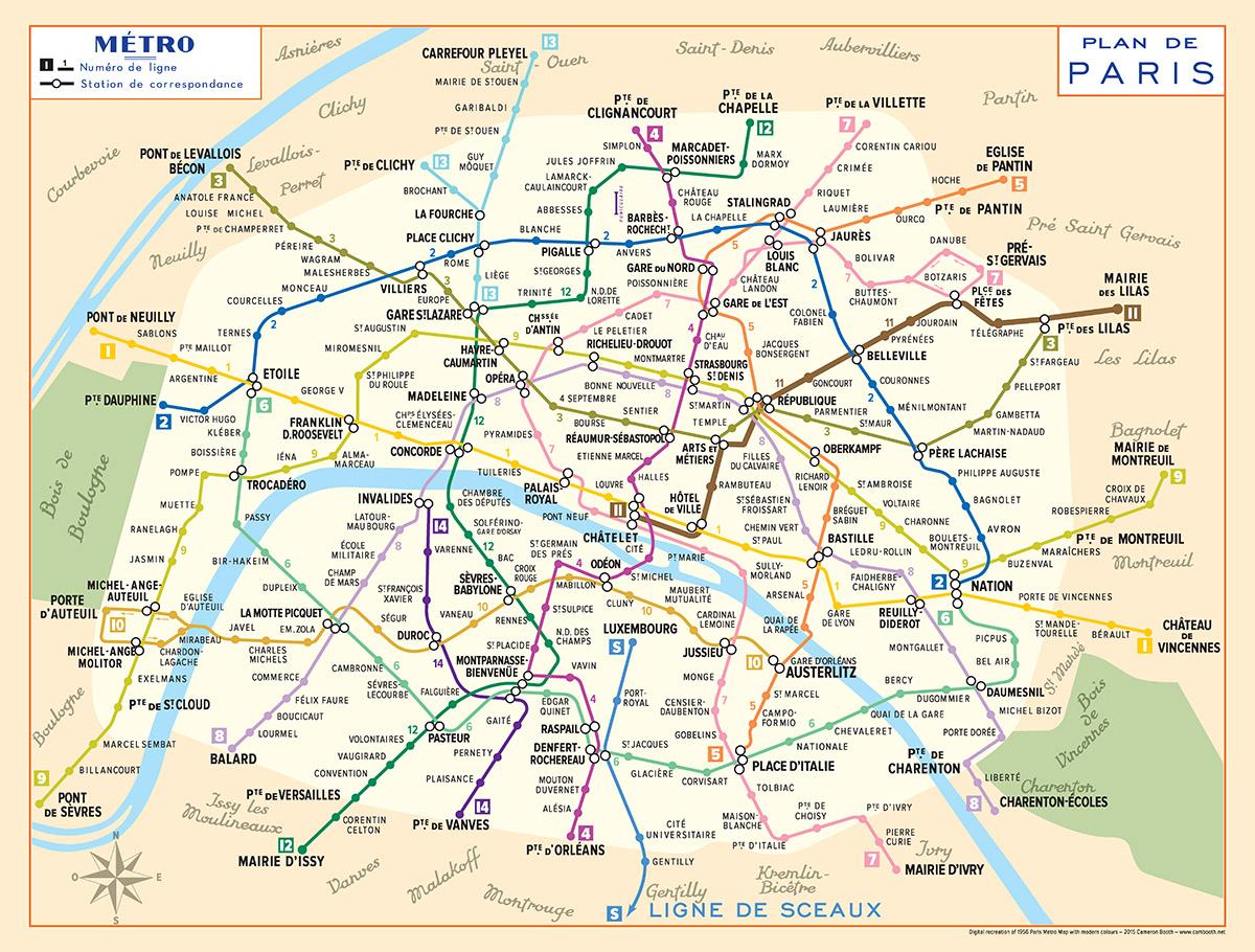 Metro Map Of Paris 1956 Paris Metro Map – Modern Colours – Transit Maps Store