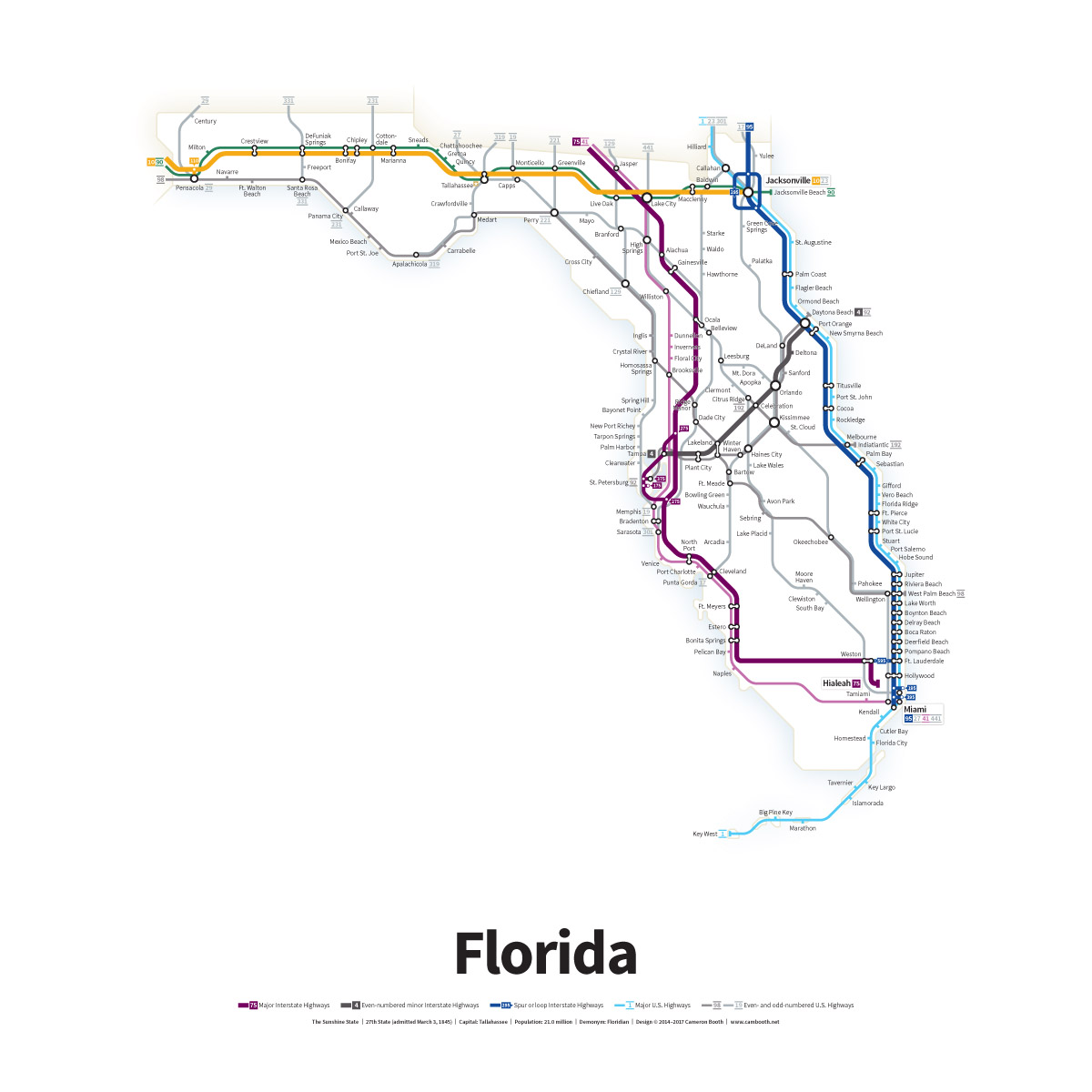 Florida Map With Highways.Highways Of The Usa Florida