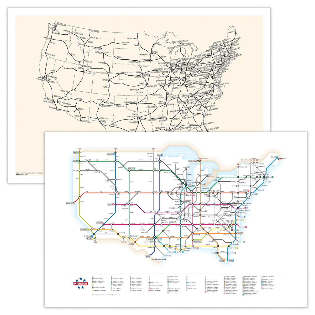 As A Subway Map.1947 Interstates Map Interstates As A Subway Map Combo Pack