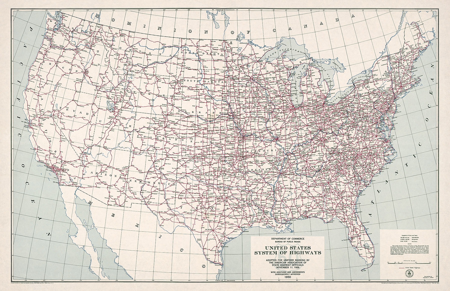 1950 U.S. Highway System Map
