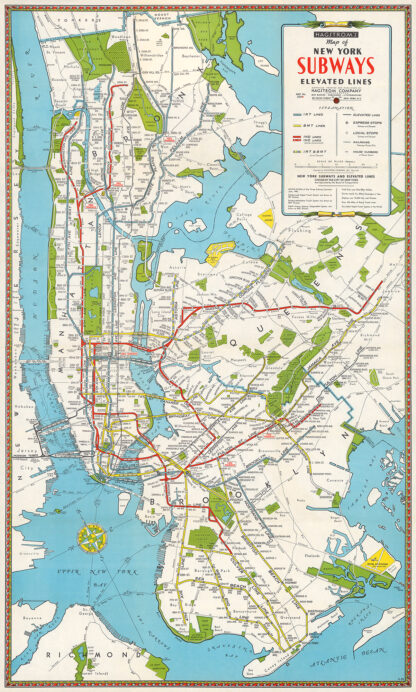 1946 Map of New York Subways & Elevated Lines