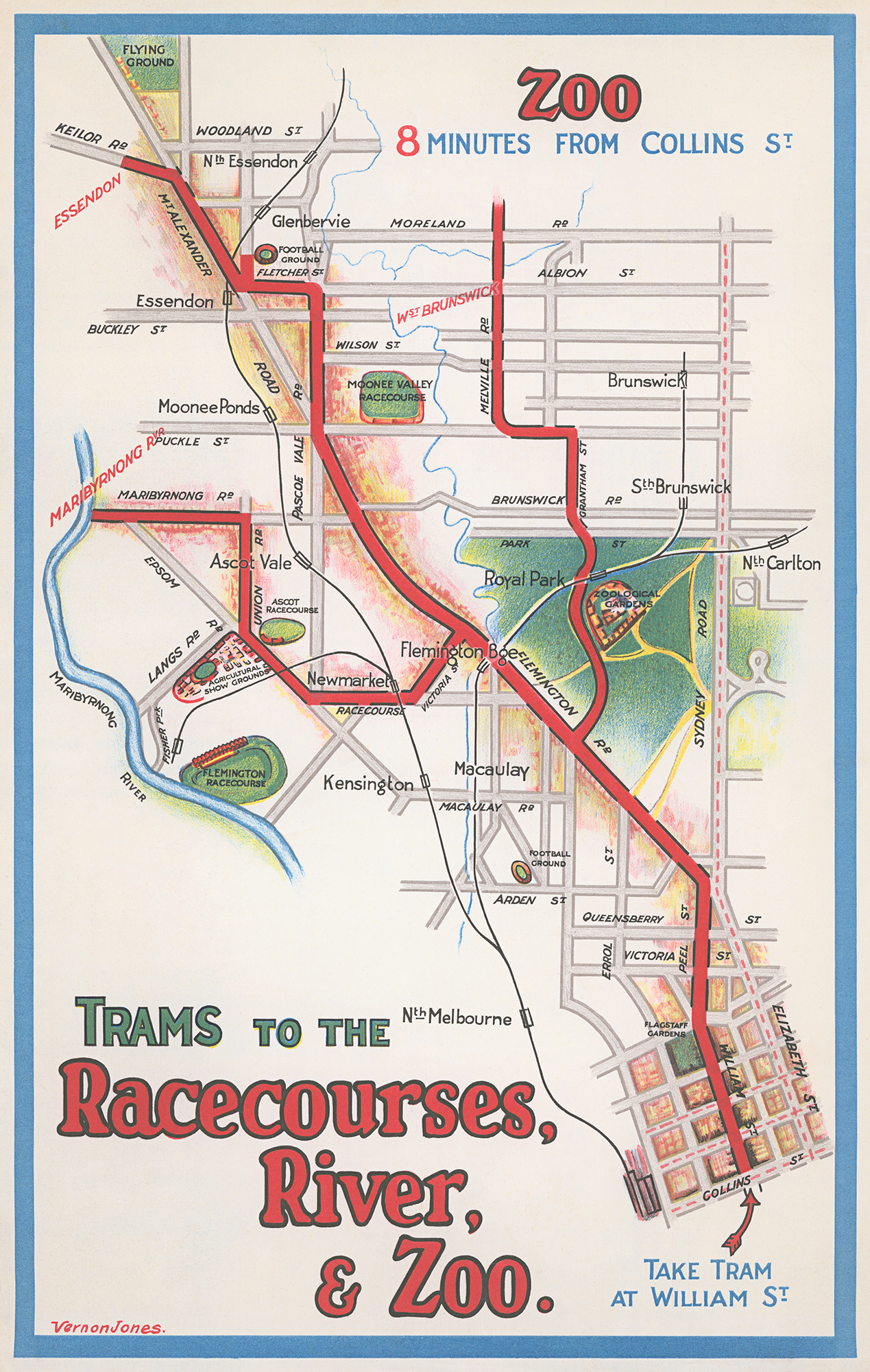 Boston Subway Map To Zoo.1930 Melbourne Trams Map To The Zoo