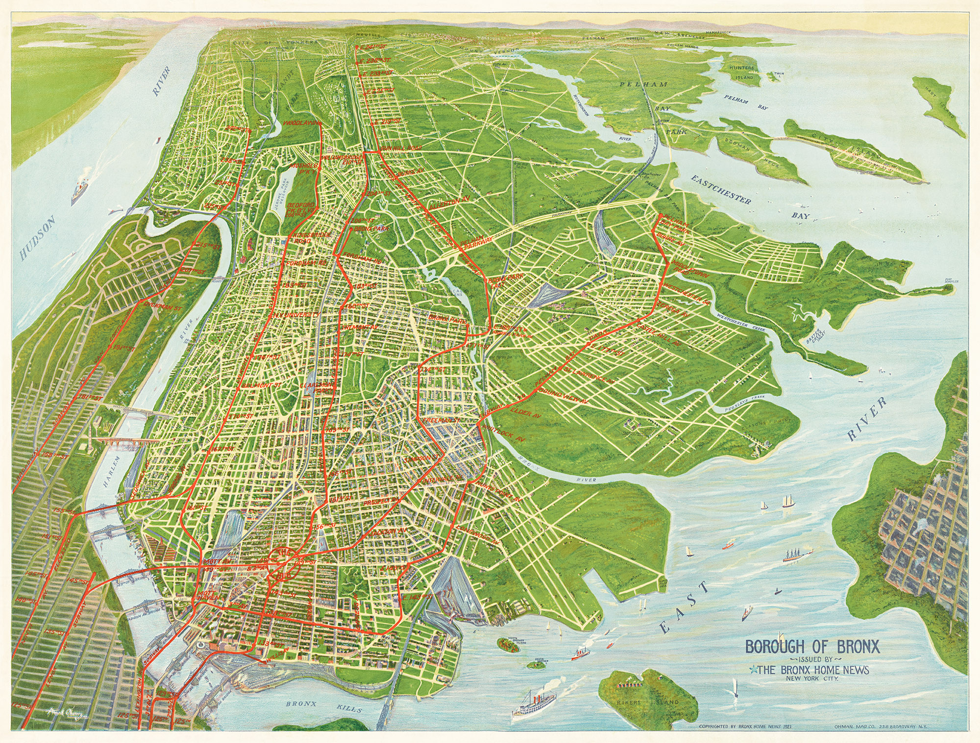 Map Of New York Bronx.1921 Map Of The Bronx New York