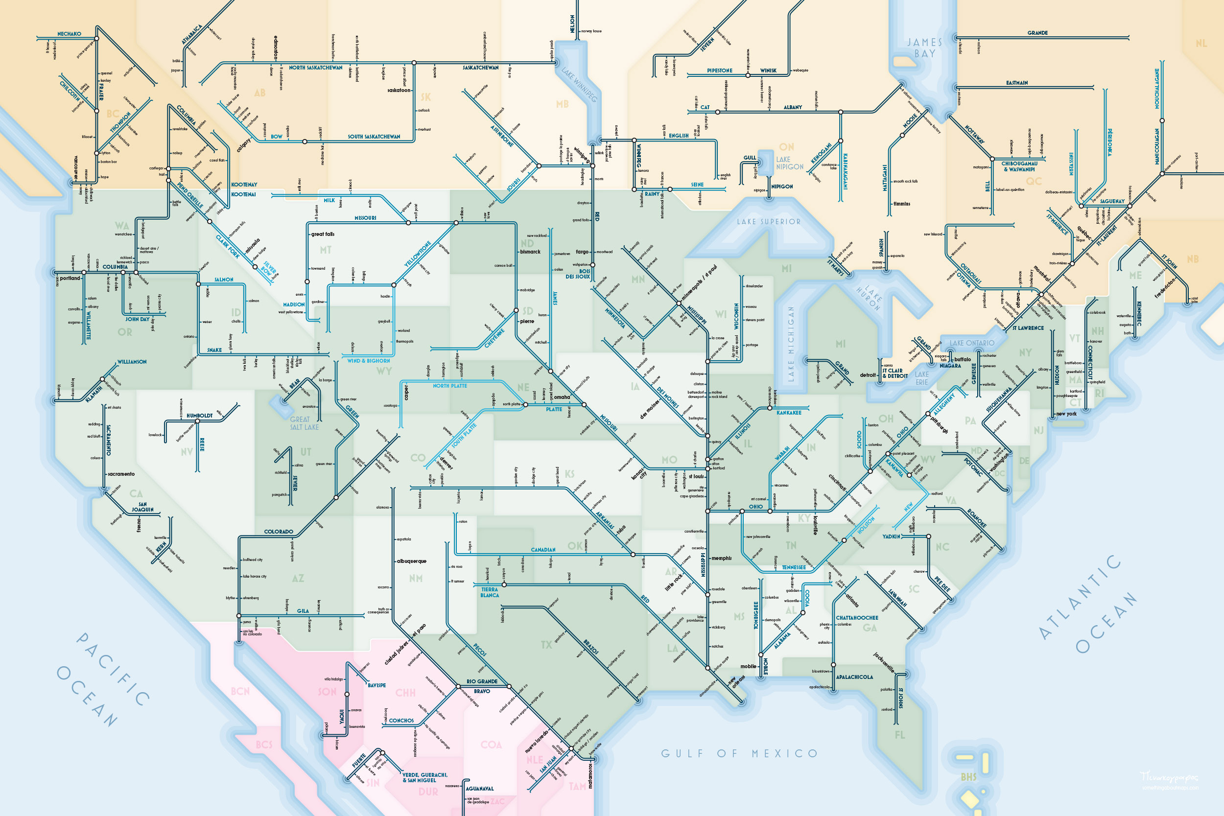 Picture of: A Selection Of North American Rivers By Daniel Huffman Transit Maps Store