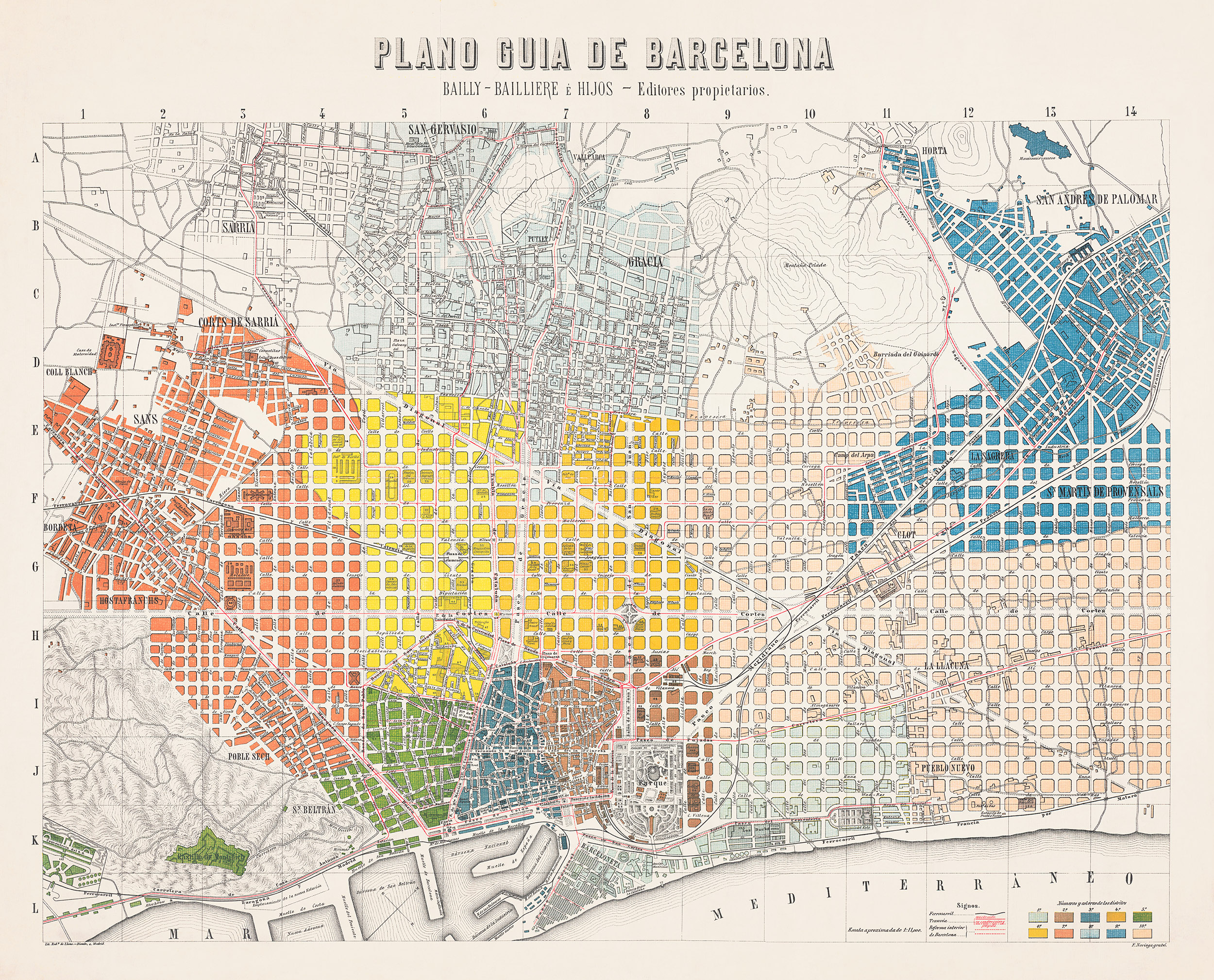 1910 Guide Map Of Barcelona Transit Maps Store
