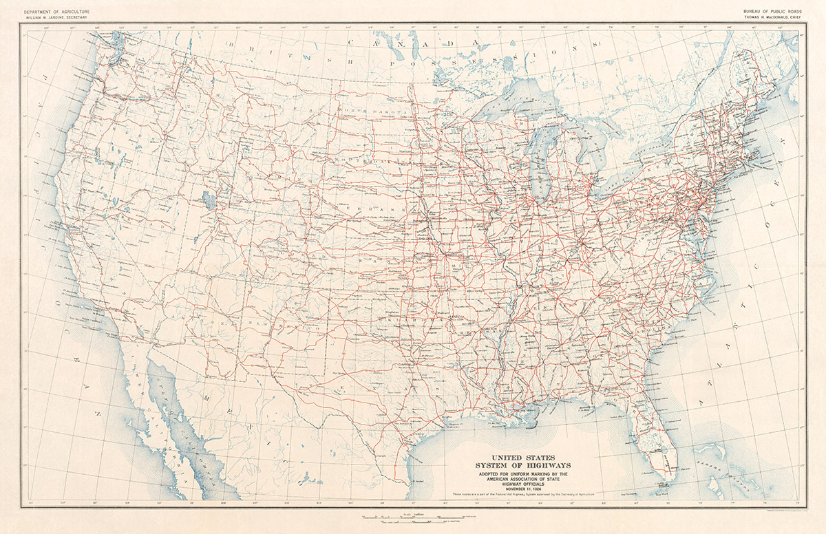 Image of: 1926 U S Highway System Map Transit Maps Store
